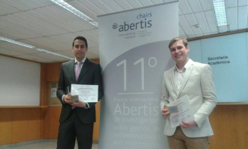 Awarded students: Manuel Bullejos on the left and Borja Moya on the right