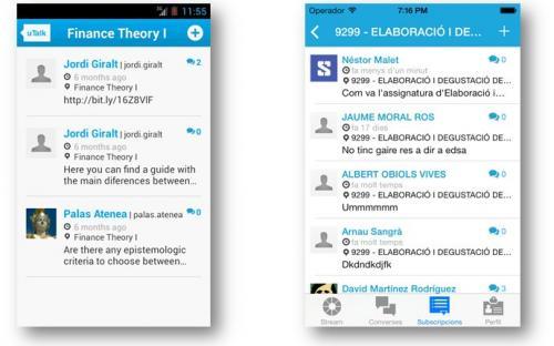 Visualització dels context en les diferents versions de l'App