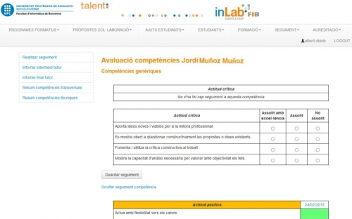 TalentSI: Gestión del programa formativo Talent del inLab FIB